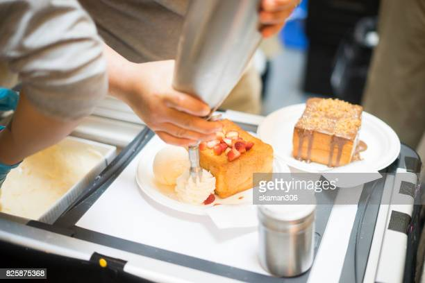 pastry chef prepare honey toast for sale