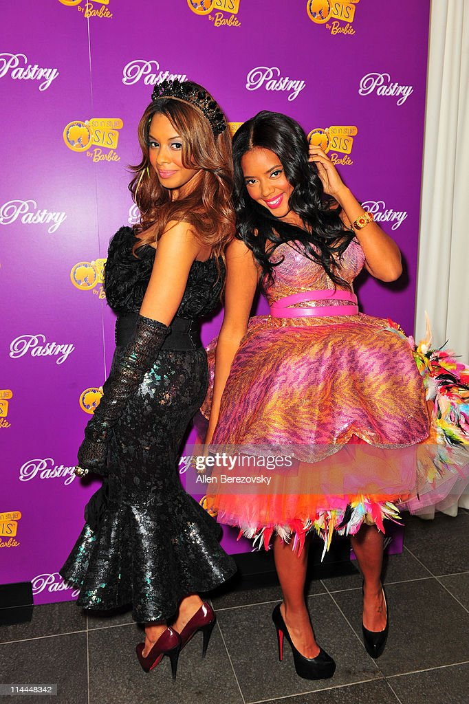Pastry founders Vanessa Simmons and Angela Simmons arrive at the Pastry Shoe's 'Barbie So In Style' Collection Launch Party at SLS Hotel on May 19...