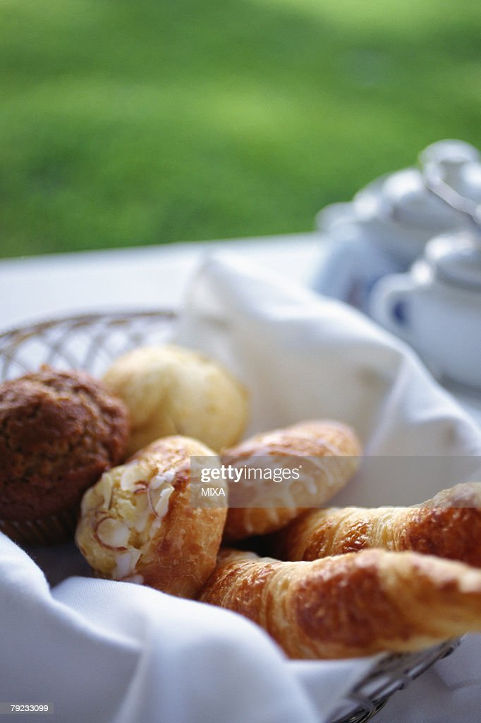 Pastry in a basket : Stock Photo