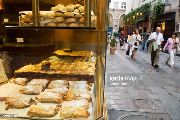 Pastry shop along Rue des Rosiers in the Marais area.