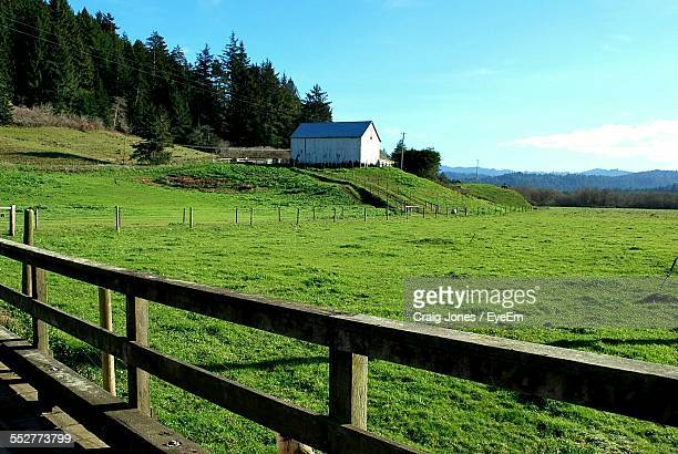 Pasture Surrounded By Fence Against Blue Sky At Farm