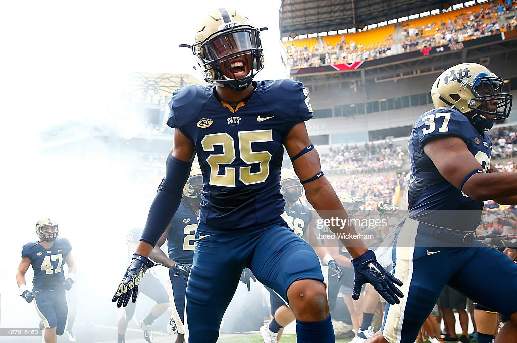 Pat Amara #25 of the Pittsburgh Panthers reacts while entering the field during introductions prior to the game against the Youngstown State Penguins at Heinz Field on September 5, 2015 in Pittsburgh, Pennsylvania.