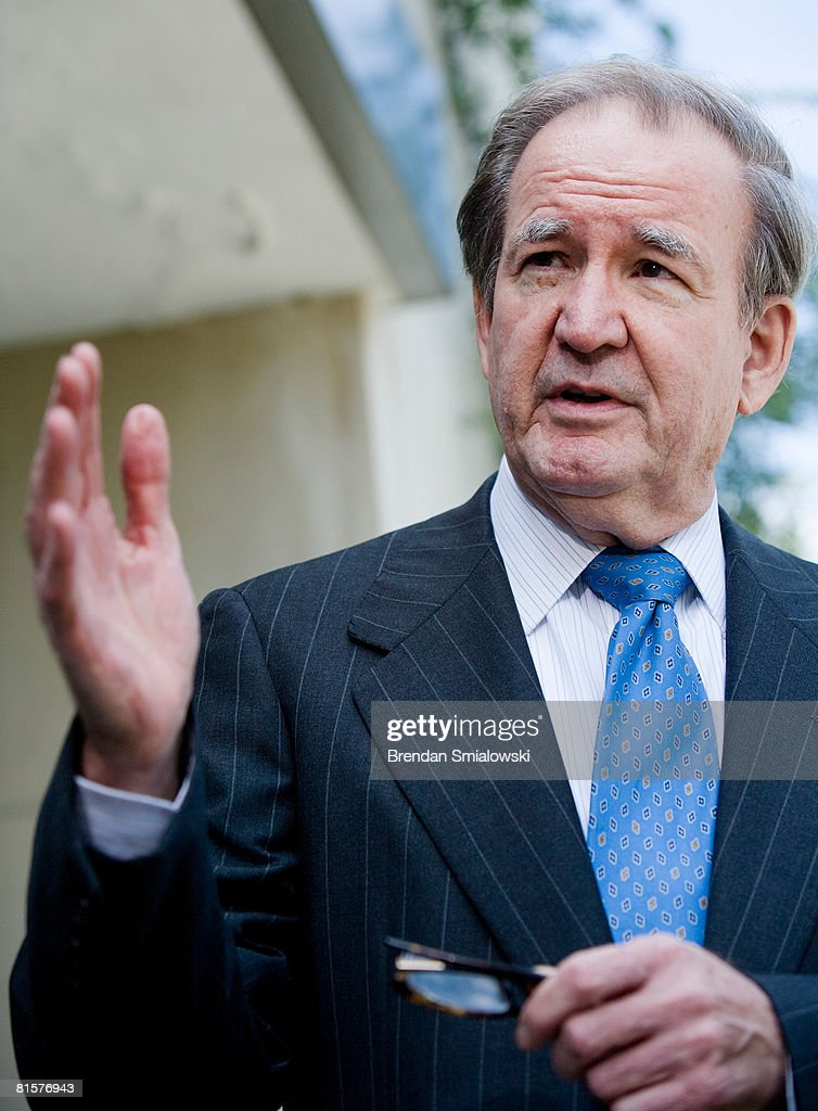 Pat Buchanan speaks about Tim Russert to reporters outside NBC's bureau June 15, 2008 in Washington, DC. This week's Meet the Press show was a tribute to host Tim Russert who died at age 58 of a heart attack last week.