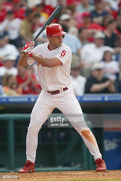 Pat Burrell of the Philadelphia Phillies bats during the game against the Montreal Expos at Citizens Bank Park on April 18 2004 in Philadelphia...