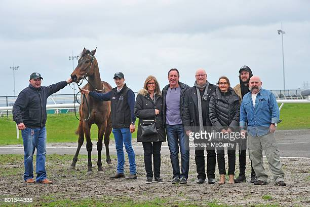 Pat Cannon Zupa Hero and some of the owners after winning Rochelleâs Hens Party Maiden Plate at Racingcom Park Synthetic Racecourse on September 10...