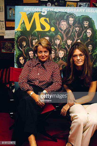 Pat Carbine and Gloria Steinem seated in Ms Magazine office