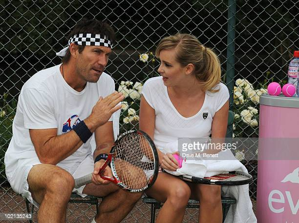 Pat Cash and Diana Vickers attend Diana Vickers and Pat Cash warm up for Wimbledon with Evian the offcial bottled water at The Hurlingham Club on...