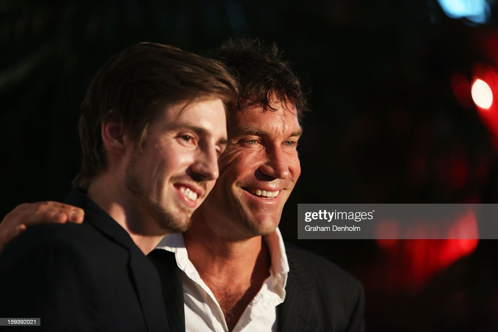 <a gi-track='captionPersonalityLinkClicked' href=/galleries/search?phrase=Pat+Cash&family=editorial&specificpeople=208695 ng-click='$event.stopPropagation()'>Pat Cash</a> (R) and his son Daniel Cash arrive at Crown's IMG Tennis Player's Party at Crown Towers on January 13, 2013 in Melbourne, Australia.