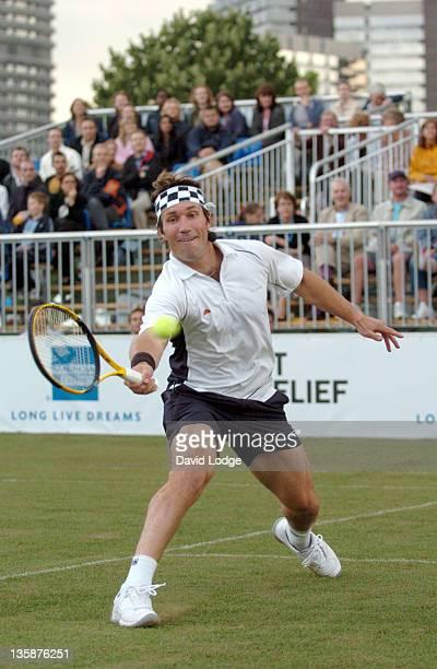 Pat Cash during American Express Wimbledon at Tower Bridge Pro Celebrity Tennis Night at Tower Bridge in London Great Britain
