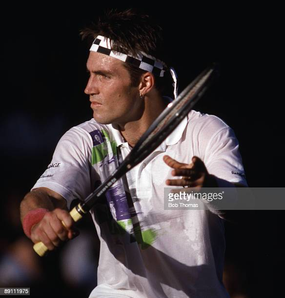 Pat Cash of Australia during the Wimbledon Lawn Tennis Championships held at the All England Club in London England during July 1990