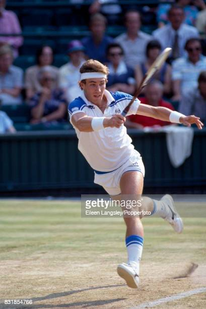 Pat Cash of Australia in action during a men's singles match at the Wimbledon Lawn Tennis Championships in London circa July 1984 Cash was defeated...