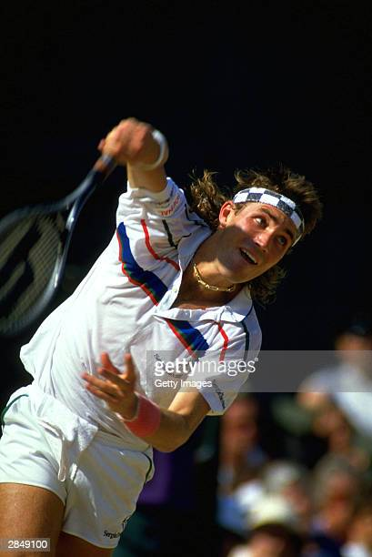 Pat Cash of Australia in action during the mens singles at the All Lawn Tennis Championships held in WimbledonLondon in July 1987Pat Cash went on to...