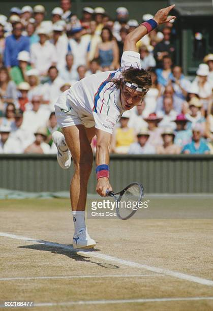 Pat Cash of Australia stretches to make a return against Ivan Lendl during their Men's Singles Final of the Wimbledon Lawn Tennis Championship on 5...