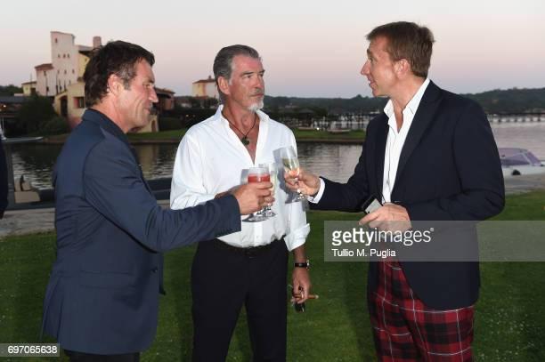 Pat Cash Pierce Brosnan and Jamie Cunningham attend The Costa Smeralda Invitational Gala Dinner at Cala di Volpe Hotel Costa Smeralda on June 17 2017...