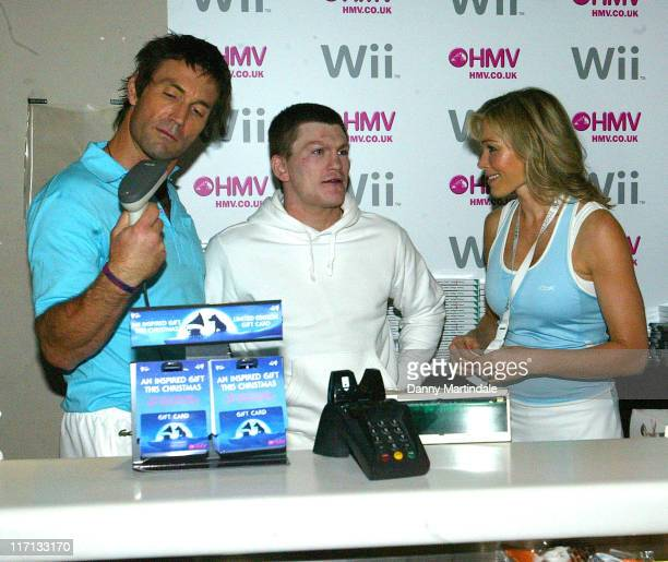 Pat Cash Ricky Hatton and Nell McAndrew during Nintendo Wii UK Launch at HMV Oxford Street in London Great Britain