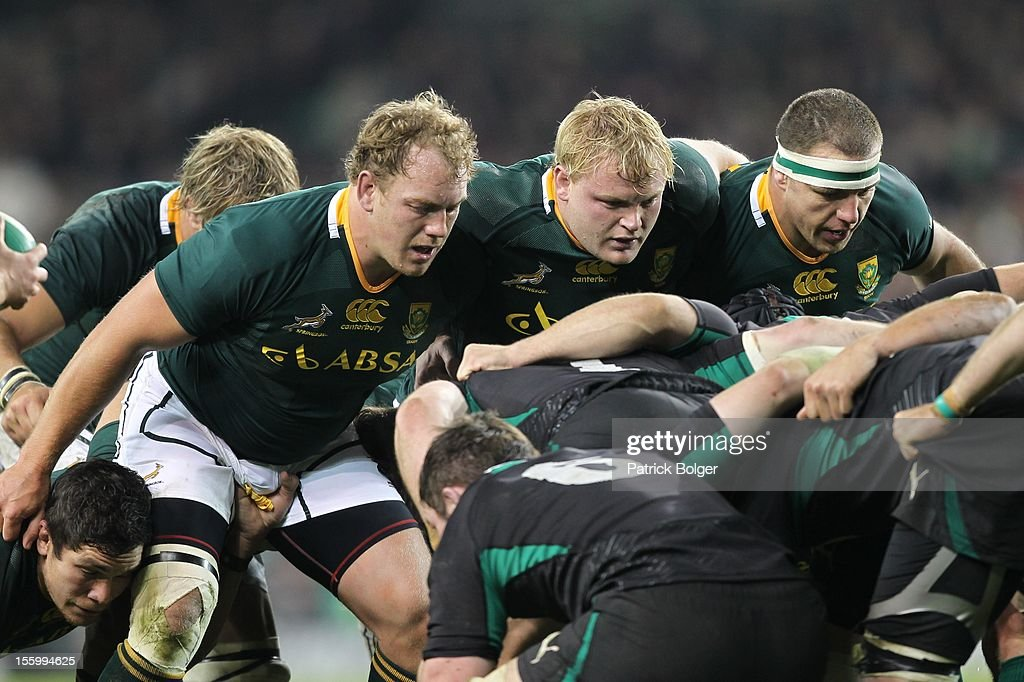 Pat Cilliers, <a gi-track='captionPersonalityLinkClicked' href=/galleries/search?phrase=Adriaan+Strauss&family=editorial&specificpeople=675792 ng-click='$event.stopPropagation()'>Adriaan Strauss</a> and Heinke Van Der Merwe compete during the International rugby match between Ireland and South Africa in the Aviva Stadium on November 10, 2012 in Dublin, Ireland.