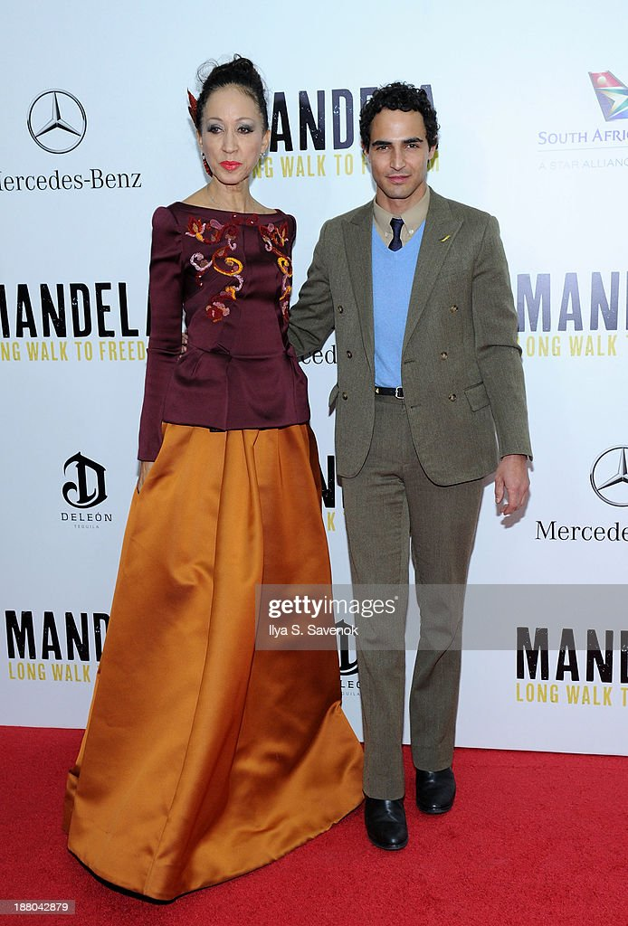 <a gi-track='captionPersonalityLinkClicked' href=/galleries/search?phrase=Pat+Cleveland+-+Model&family=editorial&specificpeople=592076 ng-click='$event.stopPropagation()'>Pat Cleveland</a> and Zac Posen attend the New York premiere of 'Mandela: Long Walk To Freedom' hosted by The Weinstein Company, Yucaipa Films and Videovision Entertainment, supported by Mercedes-Benz, South African Airways and DeLeon Tequila at Alice Tully Hall, Lincoln Center on November 14, 2013 in New York City.
