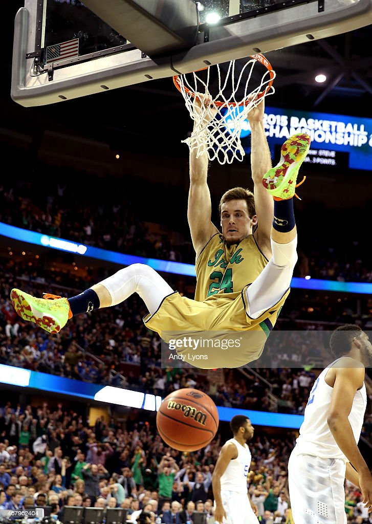 <a gi-track='captionPersonalityLinkClicked' href=/galleries/search?phrase=Pat+Connaughton&family=editorial&specificpeople=8664629 ng-click='$event.stopPropagation()'>Pat Connaughton</a> #24 of the Notre Dame Fighting Irish dunks in the second half against the Kentucky Wildcats during the Midwest Regional Final of the 2015 NCAA Men's Basketball tournament at Quicken Loans Arena on March 28, 2015 in Cleveland, Ohio.