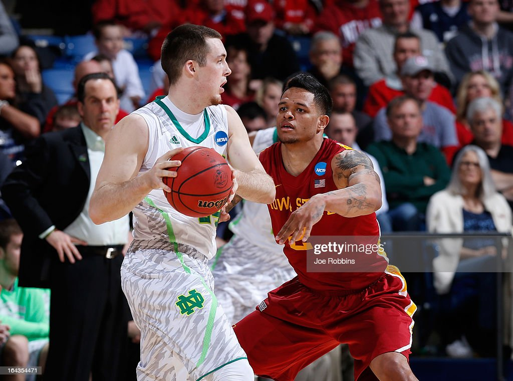 Pat Connaughton #24 of the Notre Dame Fighting Irish handles the ball against Chris Babb #2 of the Iowa State Cyclones in the second half during the second round of the 2013 NCAA Men's Basketball Tournament at UD Arena on March 22, 2013 in Dayton, Ohio.