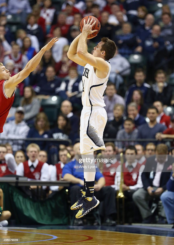 Pat Connaughton #24 of the Notre dame Fighting Irish shoots the ball in the game against the Indiana Hoosiers during the 2013 Crossroads Classic at Bankers Life Fieldhouse on December 14, 2013 in Indianapolis, Indiana.
