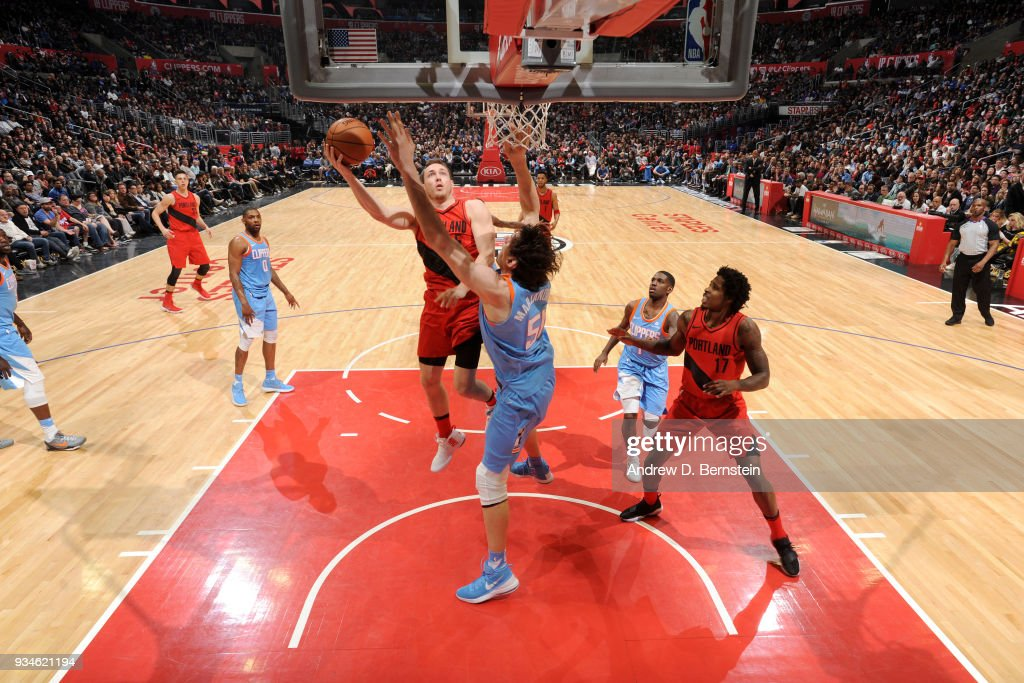Pat Connaughton #5 of the Portland Trail Blazers goes to the basket against the LA Clippers on March 18, 2018 at STAPLES Center in Los Angeles, California.