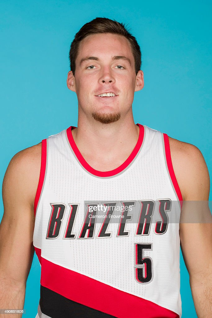 <a gi-track='captionPersonalityLinkClicked' href=/galleries/search?phrase=Pat+Connaughton&family=editorial&specificpeople=8664629 ng-click='$event.stopPropagation()'>Pat Connaughton</a> #5 of the Portland Trail Blazers poses for a head shot during media day on September 28, 2015 at the MODA Center Arena in Portland, Oregon.