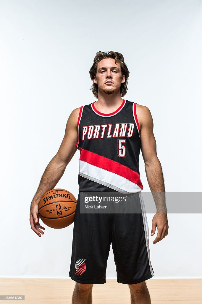 <a gi-track='captionPersonalityLinkClicked' href=/galleries/search?phrase=Pat+Connaughton&family=editorial&specificpeople=8664629 ng-click='$event.stopPropagation()'>Pat Connaughton</a> #5 of the Portland Trail Blazers poses for a portrait during the 2015 NBA rookie photo shoot on August 8, 2015 at the Madison Square Garden Training Facility in Tarrytown, New York.
