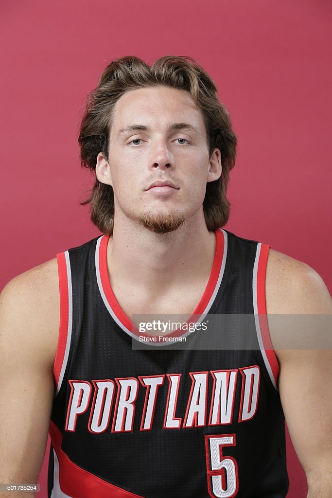 Pat Connaughton #5 of the Portland Trail Blazers poses for a portrait during the 2015 NBA rookie photo shoot on August 8, 2015 at the Madison Square Garden Training Facility in Tarrytown, New York.