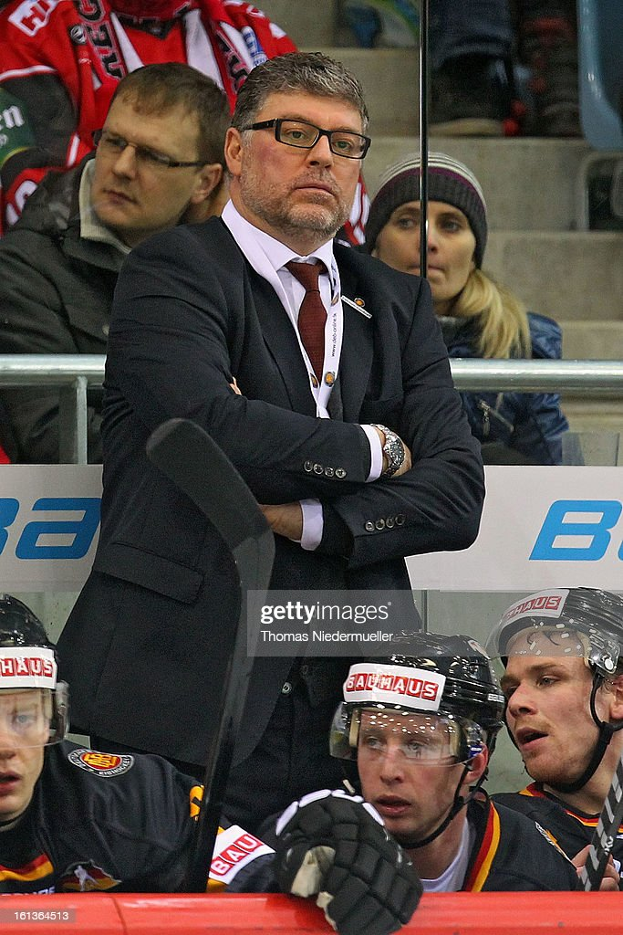 Pat Cortina, head coach of Germany looks on during the Olympic Icehockey Qualifier match between Germany and Austria on February 10, 2013 in Bietigheim-Bissingen, Germany.