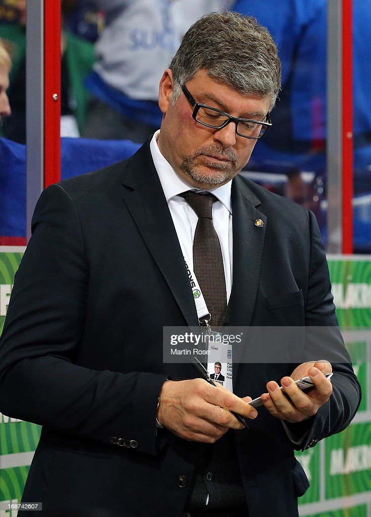 Pat Cortina, head coach of Germany reacts during the IIHF World Championship group H match between France and Germany at Hartwall Areena on May 14, 2013 in Helsinki, Finland.