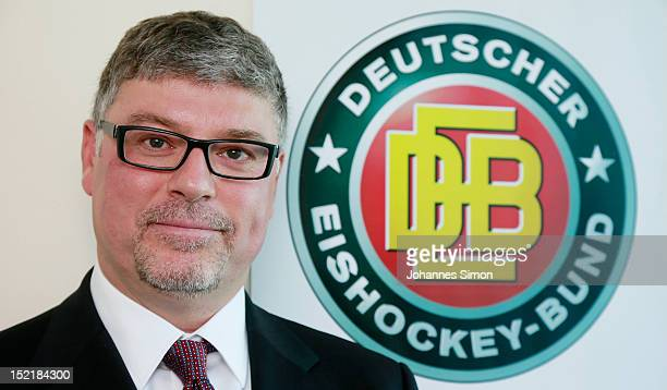 Pat Cortina new head coach of the German ice hockey team poses ahead of a press conference at DEB head quarter on September 17 2012 in Munich Germany
