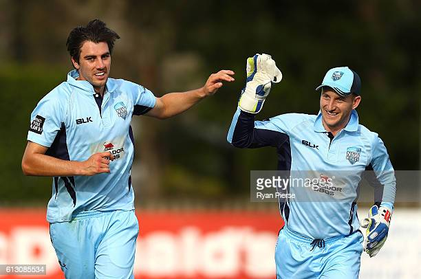 Pat Cummins and Peter Nevill of the Blues celebrate after Cummins claimed the wicket of Sam Harper of CA XI during the Matador BBQs One Day Cup match...