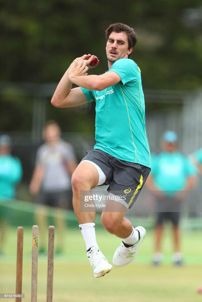 Pat Cummins bowls during an Australian cricket training session at Allan Border Field on November 15, 2017 in Brisbane, Australia.