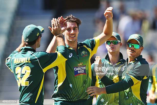 Pat Cummins celebrates his dismissal of Francois du Plessis of South Africa with Glenn Maxwell Steve Smith and David Warner during game four of the...