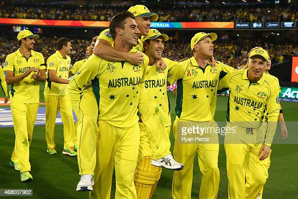 Pat Cummins David Warner Glenn Maxwell James Faulkner and Brad Haddin celebrates victory during the 2015 ICC Cricket World Cup final match between...