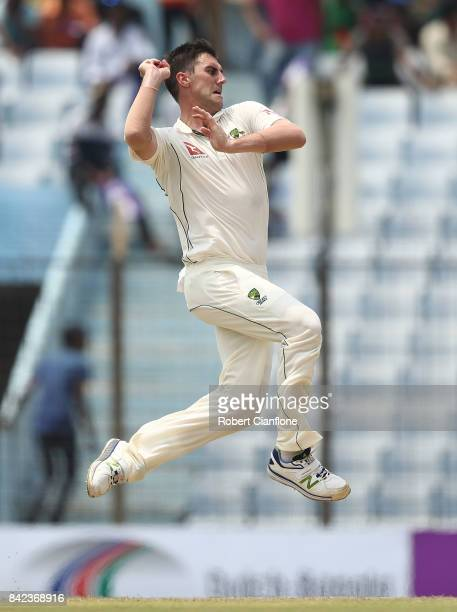 Pat Cummins of Australia bowls during day one of the Second Test match between Bangladesh and Australia at Zahur Ahmed Chowdhury Stadium on September...