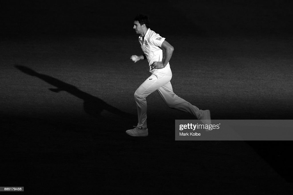 Pat Cummins of Australia bowls during day three of the Second Test match during the 2017/18 Ashes Series between Australia and England at Adelaide Oval on December 4, 2017 in Adelaide, Australia.