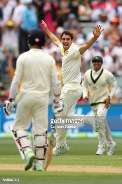 Pat Cummins of Australia celebrates after taking the wicket of Dawid Malan of England during day three of the Second Test match during the 2017/18...