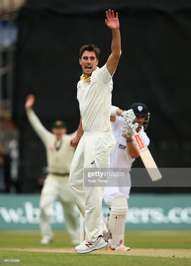 Pat Cummins of Australia celebrates after taking the wicket of Hamish Rutherford of Derbyshire during day two of the Tour Match between Derbyshire...