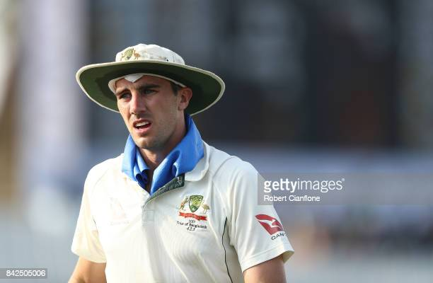 Pat Cummins of Australia looks on during day one of the Second Test match between Bangladesh and Australia at Zahur Ahmed Chowdhury Stadium on...