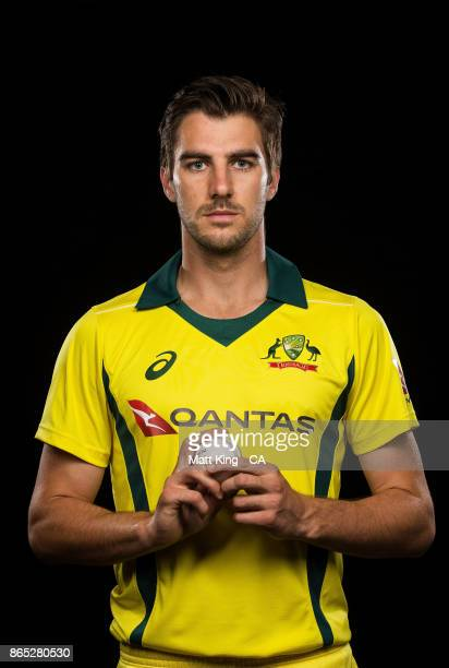 Pat Cummins of Australia poses during the Australia cricket team portrait session at Intercontinental Double Bay on October 15 2017 in Sydney...