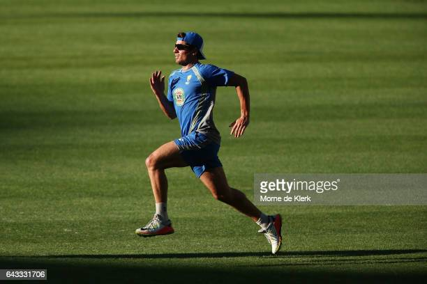 Pat Cummins of Australia runs during an Australia T20 training session at Adelaide Oval on February 21 2017 in Adelaide Australia