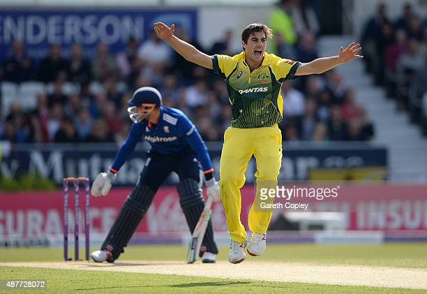Pat Cummins of Australia successfully appeals for the wicket of Alex Hales of England during the 4th Royal London OneDay International match between...
