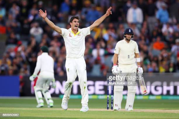 Pat Cummins of Australia unsuccessfully appeals for the wicket of Joe Root of England during day four of the Second Test match during the 2017/18...