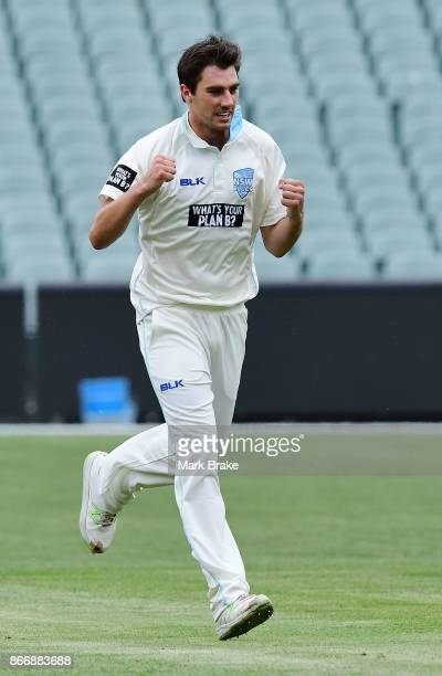 Pat Cummins of NSW celebrates the wicket of Redbacks John Dalton during day one of the Sheffield Shield match between South Australia and New South...