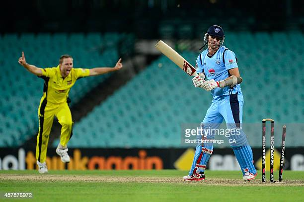 Pat Cummins of NSW is bowled out by Nathan Rimmington of Western Australia during the Matador BBQs One Day Cup Final match between Western Australia...
