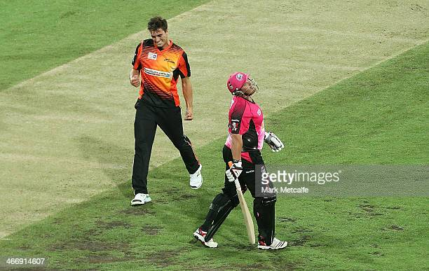 Pat Cummins of the Scorchers celebrates taking the wicket of Mark Cosgrove of the Sixers during the Big Bash League semi final match between the...