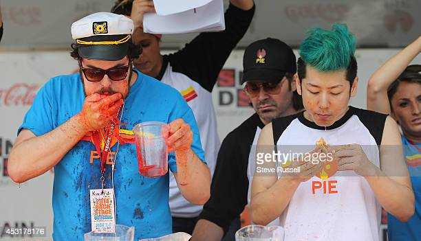 BARRIE ON AUGUST 4 Pat 'Deep Dish' Bertoletti from Chicago ate bite for bite with Takeru Kobayashi Kobayashi defended his pizza eating title at 'Let...