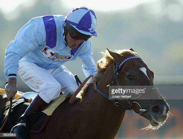 Pat Eddery and Jack Sullivan land Division II of The Mail Newspapers Maiden Stakes race run at Lingfield Park racecourse on October 15 2003 at...