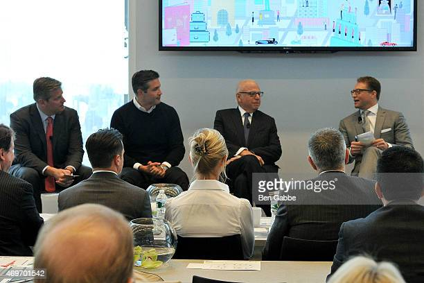Pat Galligar Marc Kushner President and CEO of Vector Group Howard Lorber and journalist Robert Frank attend the Douglas Elliman Wealth Report Launch...